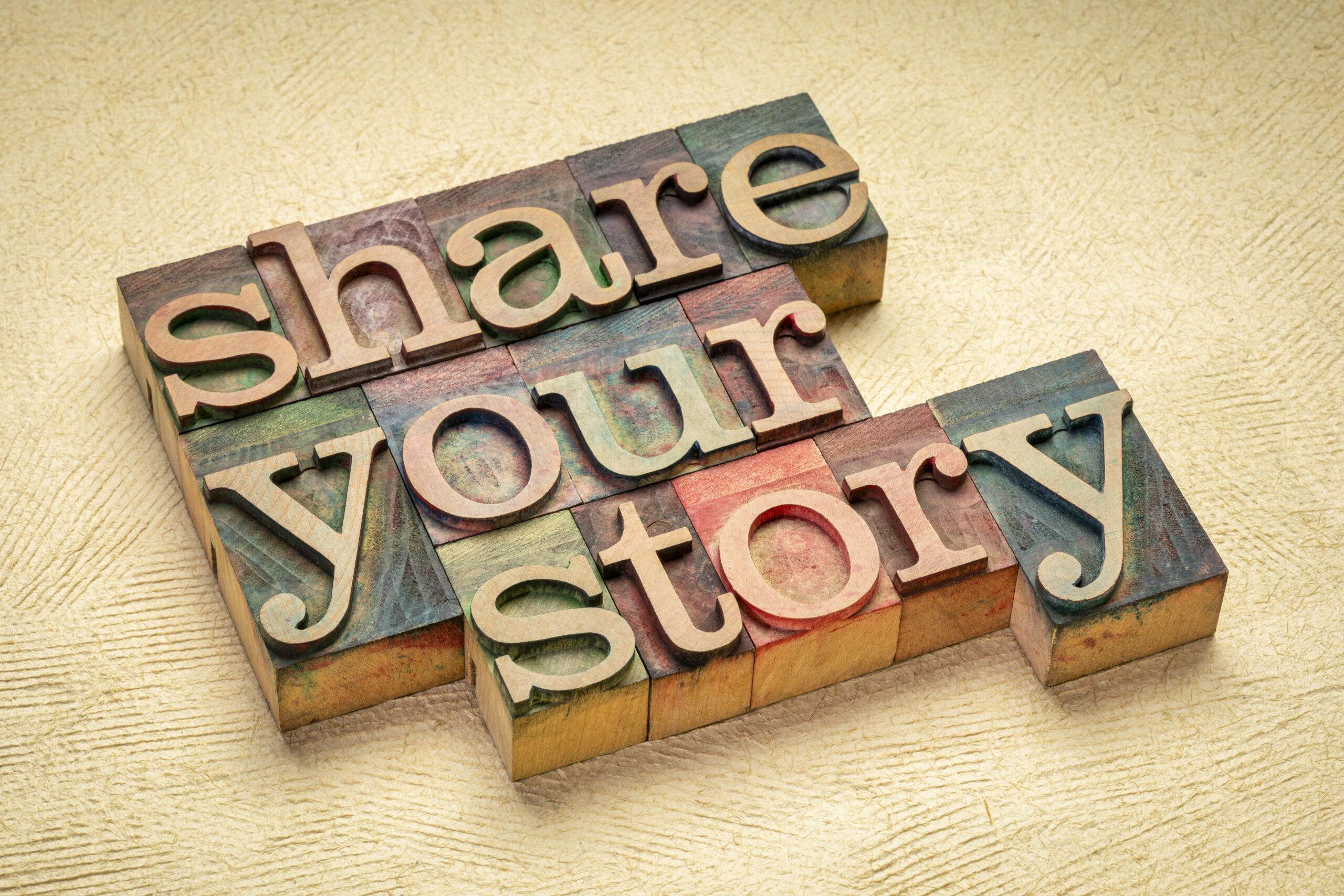 """Schriftzug zur Biografiearbeit """"Share your story"""""""